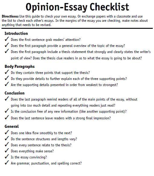 Opinion-Essay-Checklist